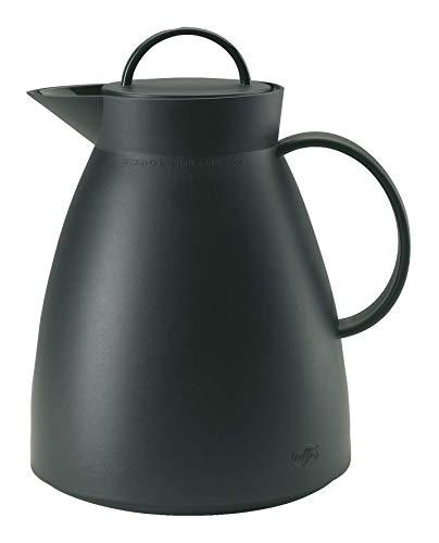 alfi Dan Thermoskanne, Teekanne Kunststoff gefrostet Schwarz 1,0l, Isolierkanne mit Glaseinsatz, 0935.020.100, 12 Stunden heiß, 24 Stunden kalt, große Öffnung für Teebeutel und Teefilter, BPA-Frei