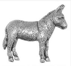 Gift Boxed Pewter- Donkey Badge pin or Brooch Gift for Scarf, Tie, Hat, Coat or Bag