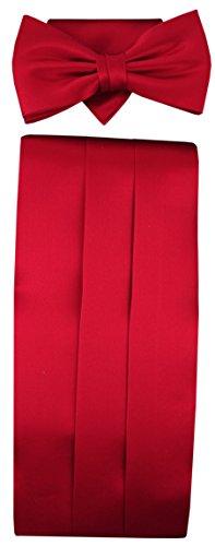 TigerTie Kummerbund Einstecktuch Fliege 100% Seide Farbe Rot - Schärpe Leibbinde