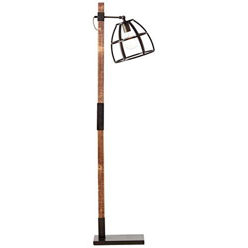 BRILLIANT lamp Matrix Wood vloerlamp 1-licht zwart staal/hout |1x A60, E27, 60W, geschikt voor standaardlampen (niet inbegrepen) |Schaal A ++ tot E |Draaibare kop