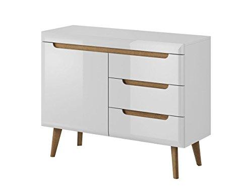 Furniture24 Kommode Sideboard NORDI in Skandinavische Stil (Weiß/Weiß Hochglanz)