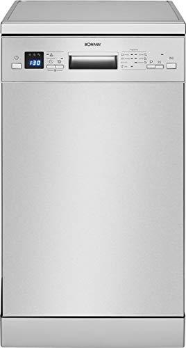 Bomann GSP 7411 IX Geschirrspüler, Stand/Unterbau, 45 cm Ausführung, 9 Maßgedecke, 7 Programme, Edelstahl-Blende mit LED-Display, Inox