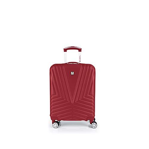 Gabol - Atlanta   Maleta de Cabina con Cargador USB Rigida de 40 x 55 x 20 cm con Capacidad para 34 L de Color Rojo