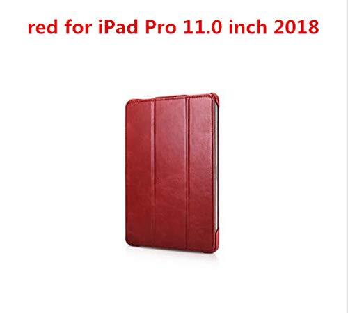 QINYUP para iPad Pro 11 Pulgadas iPad Air 10.5 Mini5 Mini 5 Funda de Cuero Genuino para iPad Pro 12.9 Pulgadas 2018 2020 iPad Air 3 Cover-iPad Pro 11 2018 Rojo