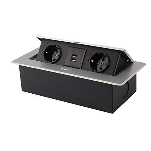 Einbausteckdose 4-Fach inkl. versenkbar mit 2 USB, Silber,Versteckte Tisch-Einbau-Steckdose,Versenkbare Einbau Steckdosenleiste