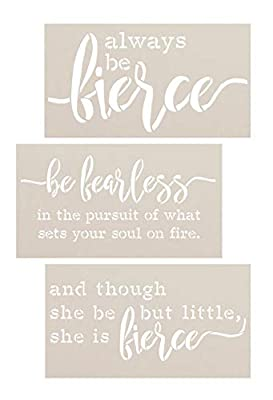 Little But Fierce & Fearless Stencil Set by StudioR12 | Pack of 3 Motivational Quote & Inspirational Word Art | DIY Home Decor | Reusable Mylar Template | Paint Wood Sign | Select Size
