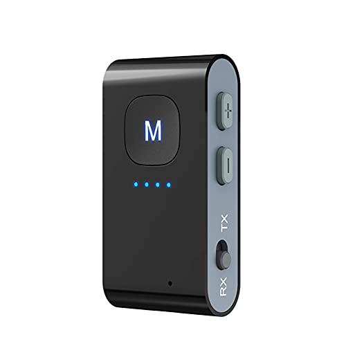 Receptor Transmisor Bluetooth 5.0, MoreChioce Adaptador Bluetooth Inalámbrico 2 en 1 Portátil Adaptador Inalámbrico de Audio de 3.5mm para TV PC Auriculares Altavoces Estéreo MP3 MP4