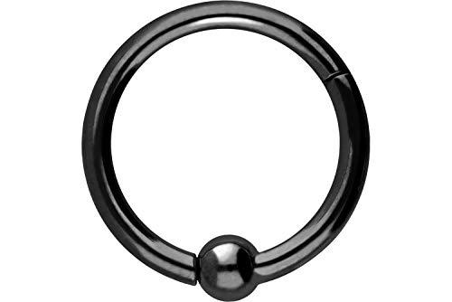 PIERCINGLINE Chirurgenstahl Segmentring Clicker | mit Kugel | Piercing Ring Septum Ohr Helix Tragus | Farb & Größenauswahl