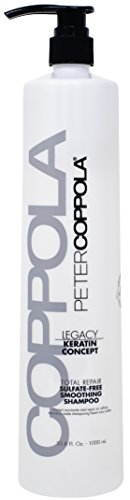 Peter Coppola Legacy Total Repair Cleansing & Smoothing Sulfate-Free Shampoo for Color Treated Hair – Color Safe, Sodium Chloride-Free Keratin Shampoo – Strengthens and Repairs Damaged Hair, 33.8 oz