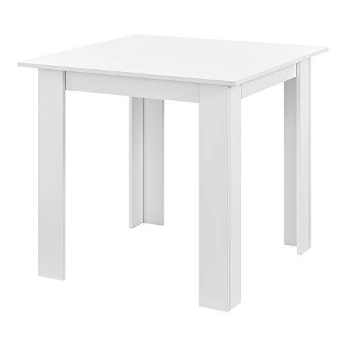 [en.casa] Mesa de Comedor Algermissen 80 x 80 x 76 cm Mesa de Cocina o Salón Cuadrada Escritorio para Oficina Mesa de Bistro para 4 Personas Blanco