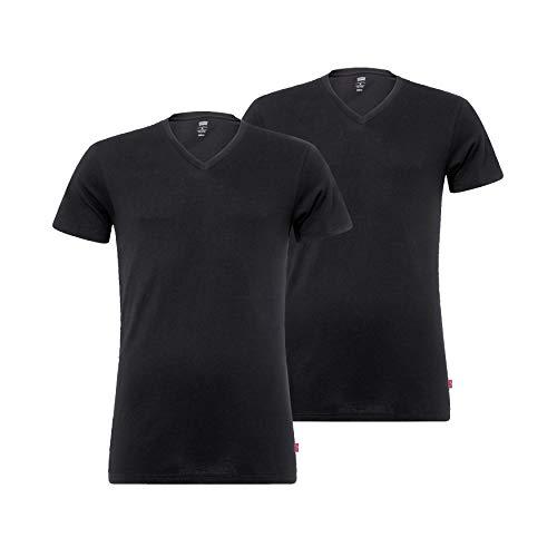 Levi's Levis Men V-Neck 2P Camiseta, Negro (Jet Black 884), Medium (Pack de 2) para Hombre