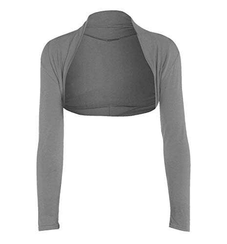 WearAll Damen-Bolero, Übergröße, lange Ärmel, bauchfrei, Cardigan, Top Gr. 50-52, Grau
