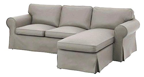 Sofa Cover Only! Dense Cotton Ektorp Loveseat (2 Seater) with Chaise Lounge Cover Replacement is Custom Made for IKEA Ektorp Sectional 3 Seat (Three) Sofa Slipcover. Cover Only! (Light Gray Cotton)