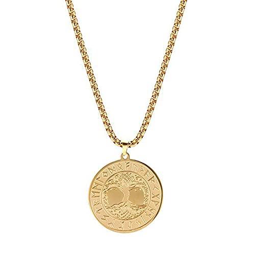 XKUN Collar De Runas Vikingas, Colgante De áRbol De La Vida, JoyeríA De Acero Inoxidable, Collares para Hombres Y Mujeres, Cadena De SuéTer De Moda-Gold