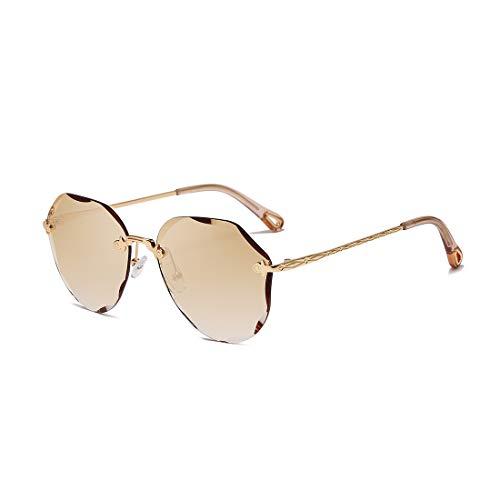 AEVOGUE Sunglasses For Women Oversized Rimless Diamond Cutting Lens Sun Glasses AE0534 (Gold Frame/Gradient Brown)