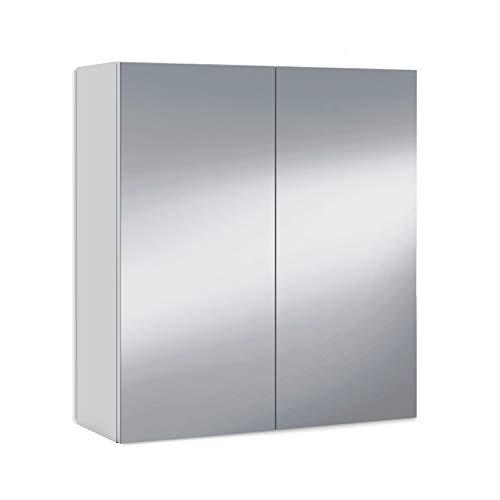 ARKITMOBEL 305083BO - Mueble Camerino Dos Puertas para Baño, Modulo con Espejo y Estantes, Acabado en Color Blanco Brillo, Medidas: 60 cm(Largo) x 65 com(Alto) x 21 cm (Fondo)