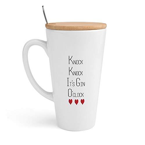 Taza de café de cerámica, Knock Knock It's Gin O'Clock, taza de té con tapa y cuchara para oficina y hogar, 18 onzas