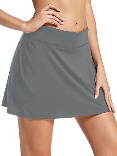 Jessie Kidden Damen athletische Strecke skort Rock mit Shorts und taschelaufen Tennis, Golf-Training XL 944 Grau