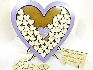 Gästebuch, personalisierbar, Lila, in Herzform, aus Holz, Herz-Motiv, 144 Hochzeitstag, rustikaler...