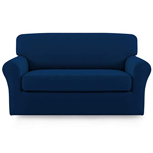 Easy-Going 2 Pieces Microfiber Stretch Sofa Slipcover – Spandex Soft Fitted Sofa Couch Cover, Washable Furniture Protector with Elastic Bottom Kids,Pet (Loveseat, Navy)