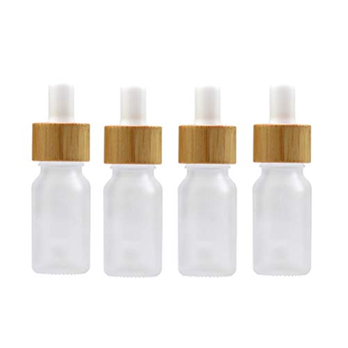 4 Pack Frosted Glass Dropper Bottles,Essential Oil Bottles With Eye Dropper And Bamboo Lids Perfume Sample Vials Essence Liquid Cosmetic Containers (10ml/0.3oz)