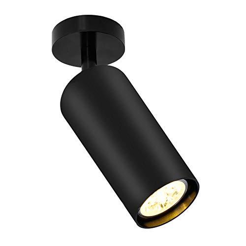 Artpad - Lámpara de techo simple de metal negro, luz de techo giratoria para interiores para sala de exposición Sala de baño Corredor 5W Bombilla E27 incluida