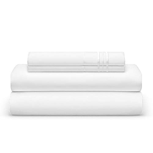 THE BEDSHEET CLUB 1800 Thread Count Bed Sheet Set - 2 Fitted & 1 Flat Sheets, 2 Pillow Cases - Best Double Brushed Microfiber - Soft & Cool, with Deep Pockets, Thick Elastic - Split King - White