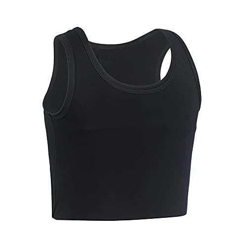 JARAZIN Women Transgender Tomboy FTM Pull On Closure Elastic Chest Binder Pullover Tank Top (M, Black)