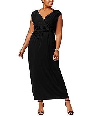 NY Collection Womens Plus Sleeveless Empire Maxi Dress (1X) Deep Black