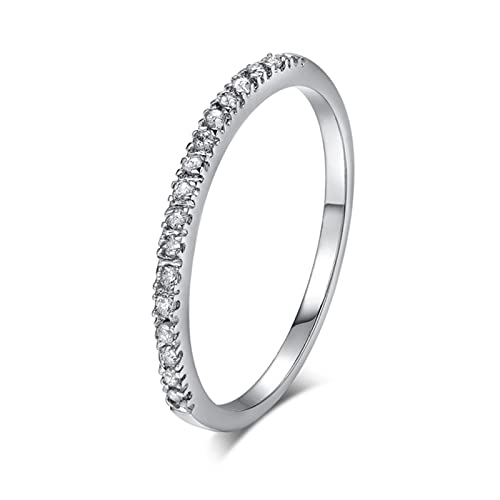 Love Cute Wedding Anillos de compromiso para mujer Micro Pave CZ Crystal Fashion Jewelry-10.5, oro blanco