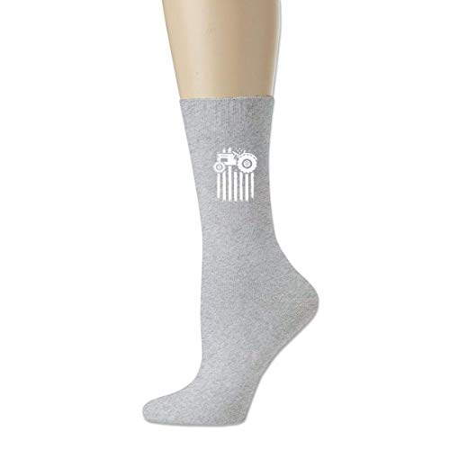 wonzhrui Gris Tractor Retro USA Flag Calcetines deportivos de algodón unisex Calcetines tobilleros casuales