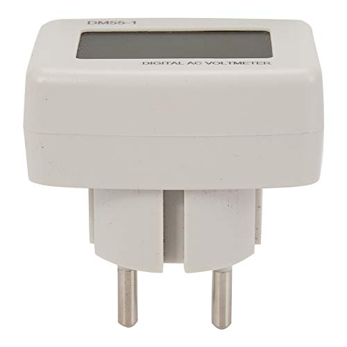 TOOGOO Dm55-1 Ac 80-300V Medidor de Voltaje Enchufe Eu Medidor de Voltios Instrumentos EléCtricos Lcd VoltíMetro Digital Probadores de Pluma 15% (Enchufe Eu)