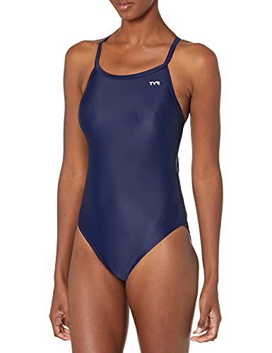 TYR Women's TRYeco Solid Diamondfit Swimsuit for Racing and Training, Navy, Size 38