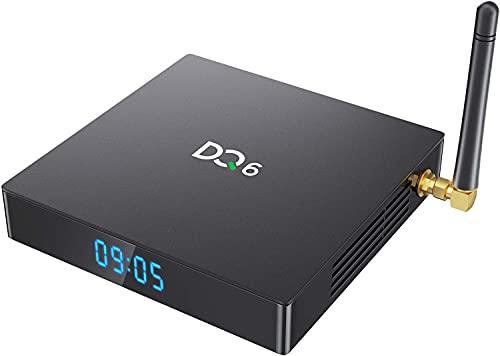 TV Box con Sistema Operativo Android 10.0, TV Box Android SUNNZO DQ6 Aggiornato, RK3318 Quad-Core, Wi-Fi Doppia Banda 2,4GHz 5GHz, Antenna Esterna, Bluetooth 4.2 (4+32G)