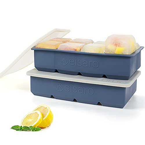 Bandejas de hielo de silicona con tapas, hielera silicona grande molde de hielo , fácil de quitar y...