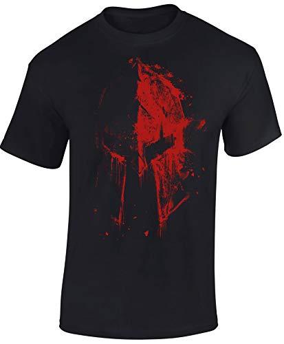Camiseta: Casco Esparta en Sangre - Train Hard - Fitness T-Shirt Hombre-s y Mujer-es - Forma Gimnasio Gym - Camisa Sport Deporte Body-Building Workout - Regalo - Sparta-n - MMA Combate Boxeo (L)