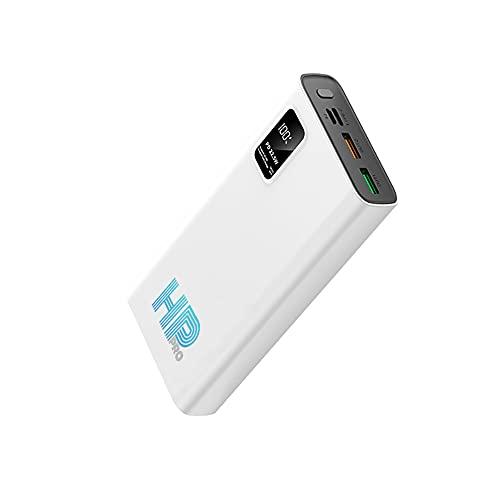 Powerbank Caricabatterie Portatile Cellulare POWER20 HP PRO 20000mAh Display LED PD 22.5W QC Carica Rapida 2 uscite USB e 1 Type-C per Smartphone Android iOS, Galaxy Tablet iPhone iPad ecc (BIANCO)