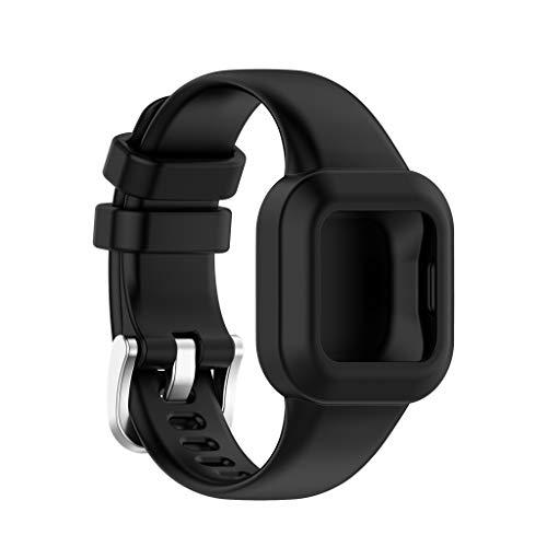 Correa de silicona compatible con GarminFit JR 3 Kids Universal Smart Sport Watch Pure Color Pulsera de talla única compatible con Garmin Vivofit JR.3 Pulsera impermeable con bucle de repuesto