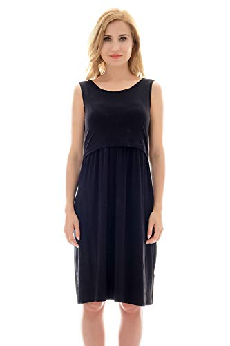 Bearsland Women's Sleeveless Maternity Dress Nursing Breastfeeding Dresses with Pockets Black