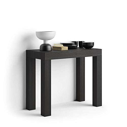 MOBILI FIVER Mobilifiver Mesa Consola Extensible, Modelo First, Color Negro Ceniza, 90 x 45 x 75 cm