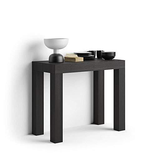Mobili Fiver, Tavolo Consolle Allungabile First, Nero Frassino, 90 x 45 x 76 cm, Nobilitato/Alluminio, Made in Italy, Disponibile in Vari Colori
