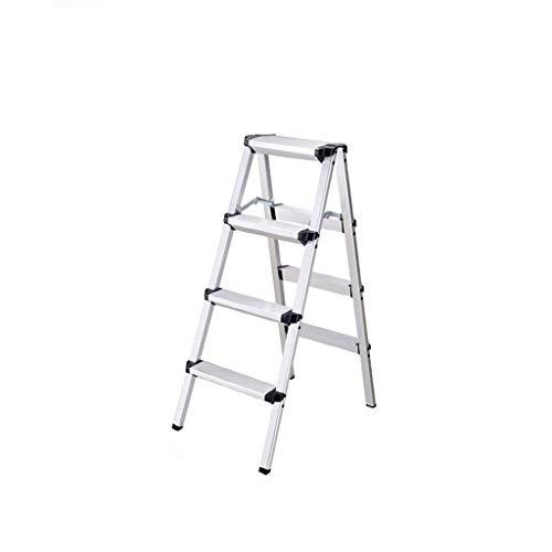 Lightweight Folding 4 Step Ladder, Aluminum Household Dual-side Ladder...