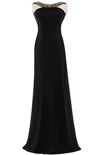Callmelady Abendkleider Lang Chiffon Ballkleider Damen Abiballkleider Cocktailkleid Elegant (Schwarz, EU30)