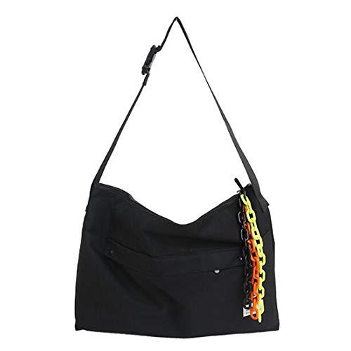 ZHANJIN Female Bag with Pendant Messenger Bag Ins Port Style Street Shooting Student Shoulder School Bag Large Capacity Messenger Bag Simple Tote Bag,Black