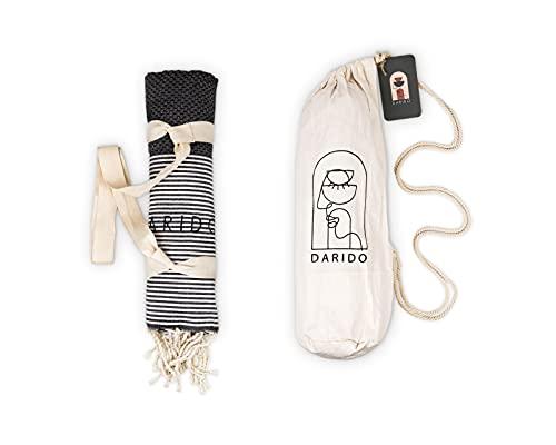 DARIDO Honeycomb Fouta Hammam Towel Beach Towel Picnic Blanket Bath Towel Sauna Towel Beach Blanket Bedspread - XXL 100 x 200 cm - 100% algodón - Handwel - Light , Soft , Absorbent - Black