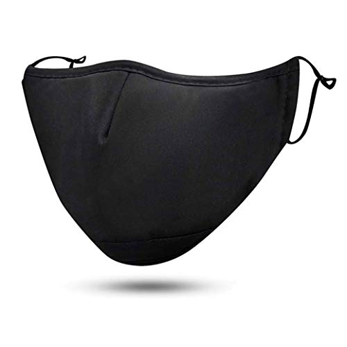 FLOWZOOM Behelfs-Community-Tuch waschbar, wiederverwendbar mit verstellbaren Gummibänder | Innen weiche Baumwolle, außen edles Polyester | Für Brillenträger geeignet | Mit Filterfach (Schwarz)