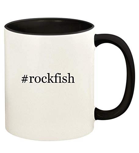 #rockfish - 11oz Hashtag Ceramic Colored Handle and Inside Coffee Mug Cup, Black