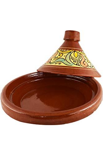 Marokkanische Tajine Topf zum Kochen Kochbuch | Schmortopf glasiert Chaouen Ø 30cm, für 4-5 Personen | inklusive Rezepte Buch Nord Afrikanische Küche | ORIGINAL Tontopf handgetöpfert aus Marokko