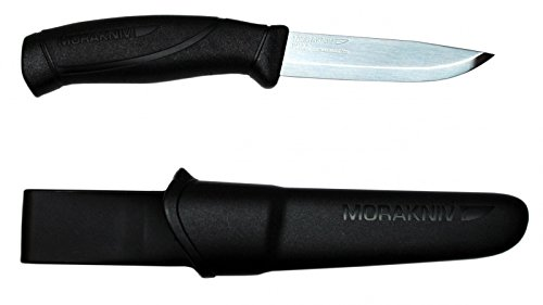Morakniv Companion Fixed Blade Outdoor Knife with Sandvik Stainless Steel Blade, 4.1-Inch, Black (M-12141)