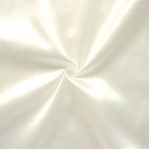 STOFFKONTOR Satin Modestoff Dekostoff - Stoff glänzend - Meterware, Creme-Weiss